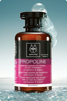 APIVITA PROPOLINE WOMEN'S TONIC SHAMPOO FOR HAIR LOSS, bay laurel & lupin, 250ml