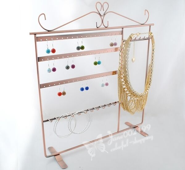 Copper Earring&Necklace Holder-Stand Organizer Jewelry Display Shelf JS009