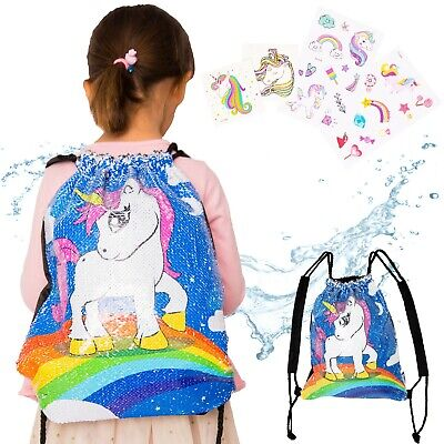 UNICORNS ARE REAL UNICORN WATER RESISTANT REVERSIBLE SEQUIN DRAWSTRING BAG