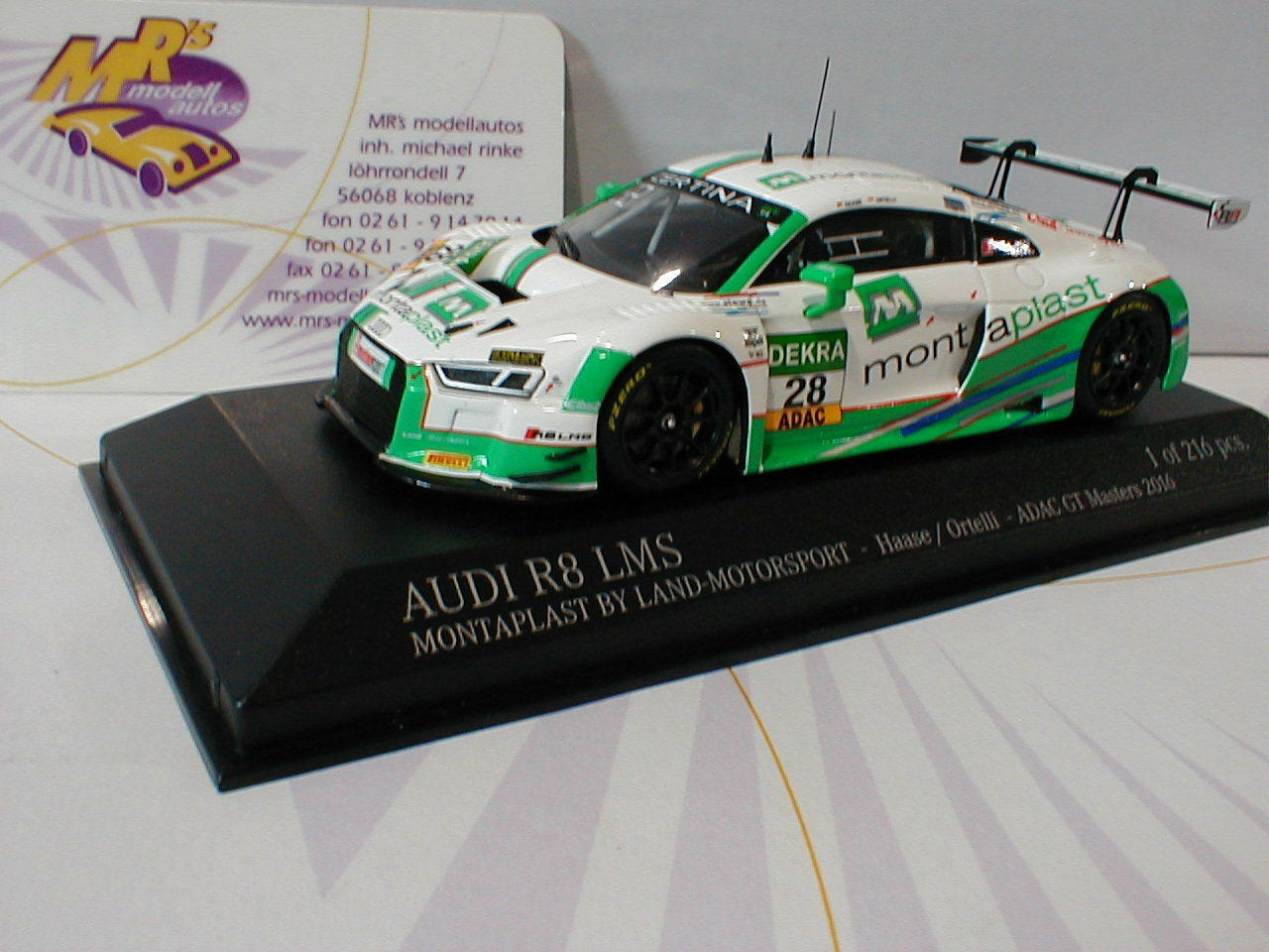 Minichamps 437161198-AUDI r8 LMS no. 28 GT-MASTERS 2016 Haase, Ortelli 1 43 NUOVO