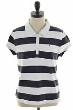 Tommy Hilfiger Womens Polo Shirt Size 18 XL White Stripes Cotton Slim Fit