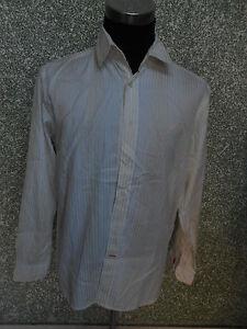 180-30i-SIGNUM-Hombre-Disenador-Camisa-Talla-L-We-ISS-CREMA-DE-RAYAS-MANGA-LARGA