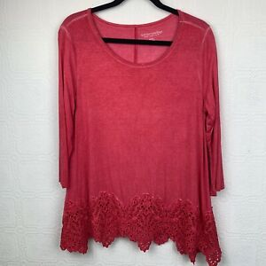 Soft-Surroundings-Womens-Tunic-Top-Medium-3-4-Sleeve-Pink-Lace-Hem-Pull-On-A291