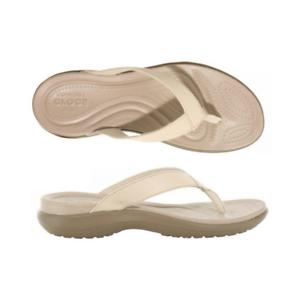 7f5511ea9 Image is loading Womens-Crocs-Capri-V-Flip-Chai-Walnut-Sandal-