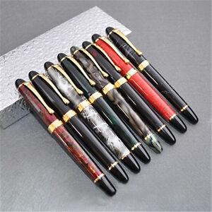 Jinhao X450 Fountain Pen Green Marble Medium Nib Gold Trim New Business