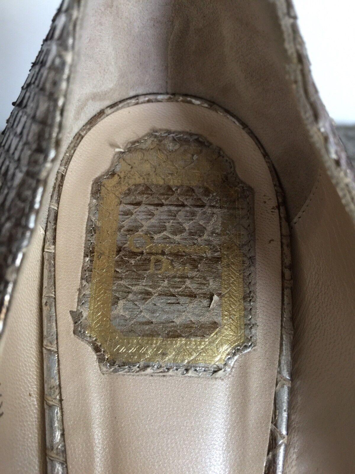 Auth. Silber Christian Dior Miss Dior Snake Skin Gold Silber Auth. Platform Pumps Heels, 40 0bd960