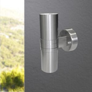 Moderne LED Up- and Downlight Aussenleuchte Outdoor 2 flg Edelstahl Leuchte NEU