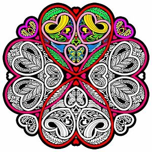 Details about Hearts Mandala - Large 20x20 Inch Fuzzy Velvet Coloring Poster