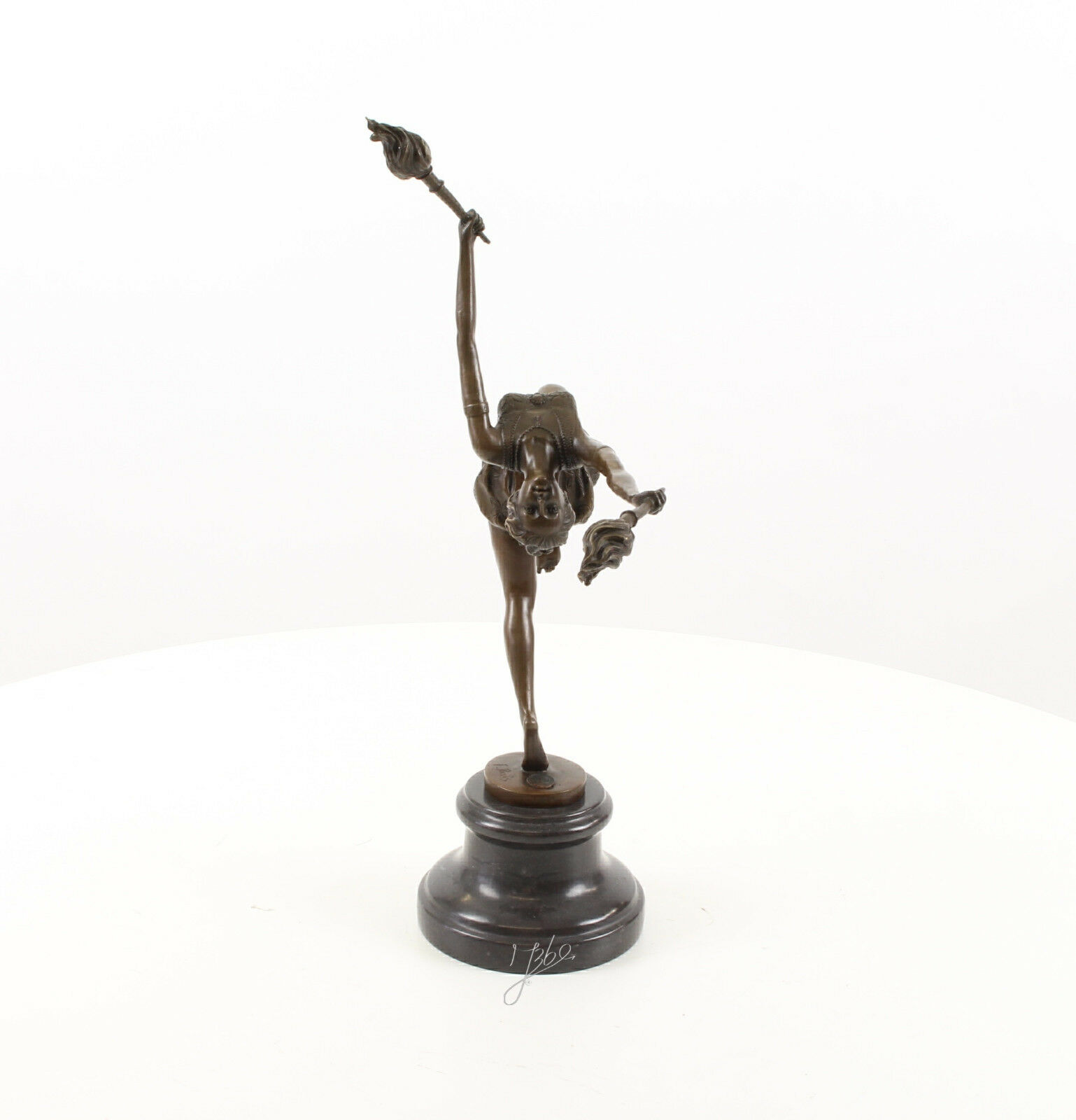 9973461-dss Bronze Skulptur Flammen-Tänzerin Akrobatin erotisch 12x33x42cm