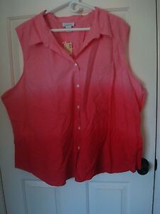 d3ead55a428 Details about Avenue Pink & Red Ombre Sleeveless Top Blouse Shirt Plus Size  30/32 5x NWT