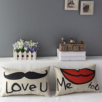 New Lovers Red Lip Beard Waist Pillowcase Car Sofa Decor Back Hold Cushion Cover