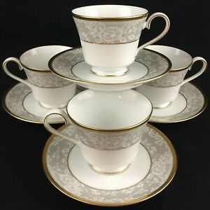 Set-of-4-VTG-Cups-and-Saucers-by-Nikko-Fine-China-Evening-Lace-2750-Thailand
