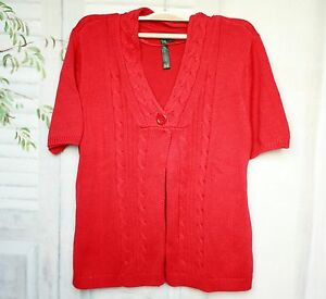 Details zu Rote Bluhmod Damen Baumwolle Zopfmuster Kurzarm Weste Strickjacke L XL 44 46