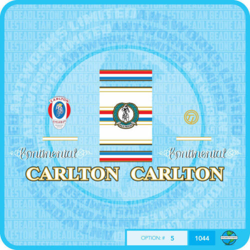 Set 5 Carlton Continental Bicycle Decals Transfers