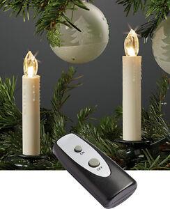 10 x led weihnachtsbaumkerzen kabellos mit fernbed batterien hellum 602630 ebay