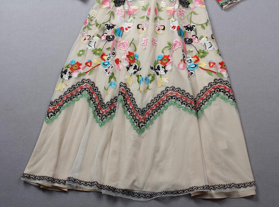 Vestito Lungo Donna Fiori Ricamati Donna Donna Donna Maxi Dress Embroidered Flowers OB14268 941dc9