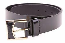 $58 Lauren Ralph Lauren Spazzolato Women's Leather Belt Black and Gold Buckle  M
