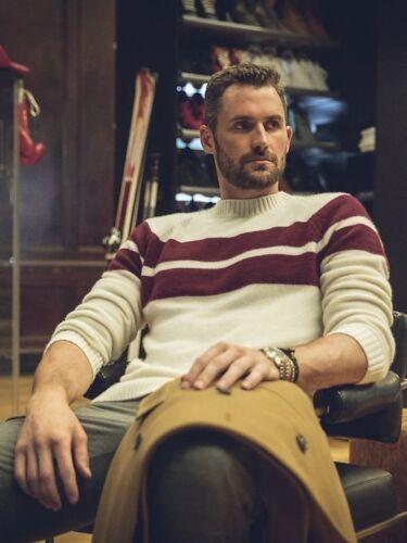 Banana Republic con color marfil arándanos Kevin suéter rayas X 36254 a Love en Air M RRaqrw
