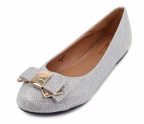 BELINDA Synthetic  Fashion Bow Slip On Casual Women Flats Office Shoes Silver