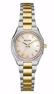 Bulova Women's Quartz Diamond Accent Two-Tone Mother of Pearl 26mm Watch 98R204