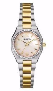 Bulova Women's Quartz Diamond Accent Two-Tone Mother of Pearl 26mm Watch 98R204