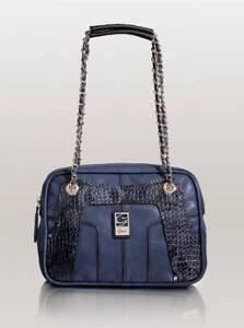 MONTIQUE-SHOULDER-BAG-Dual-Chained-Strap-Handbag-for-Women-039-s-Blue