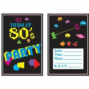 Pack-of-8-Totally-80-039-s-Arcade-Video-Games-Invitations-Party-Invites-1980-039-s