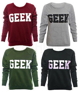 LADIES-WOMENS-GEEK-PRINT-LONG-SLEEVES-SWEATSHIRT-JUMPER-SWEATER-TOP-SIZE-8-10-12