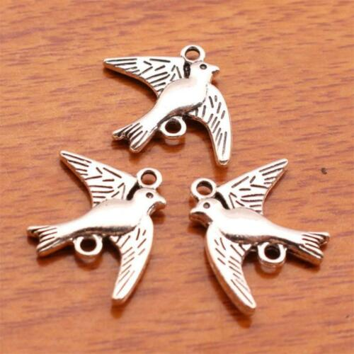 50 Piece Bird Double Side Charm SIlver Metal DIY Jewelry Bracelet Finding Charms