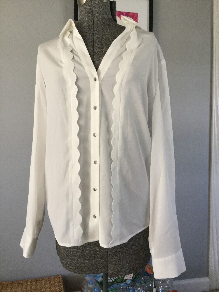 Ivanka Trump Ivory Button Down With Scallop Trim Size L A12