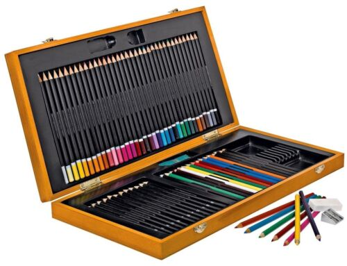 Bizili LUXURY Portable 75 Piece Pencil Caddy Kit Wood Case XYSH Young Artist NEW