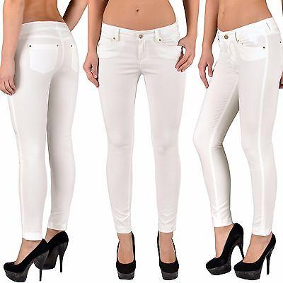 Damen Jeans Hose Röhrenjeans Damen Jeanshose Hüftjeans Skinnyhose Weiß Z83 Erfrischung