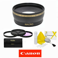 58mm Wide Angle Macro Lens + Hd Filter Kit + Gift For Canon Eos Rebel T4 T4i T5