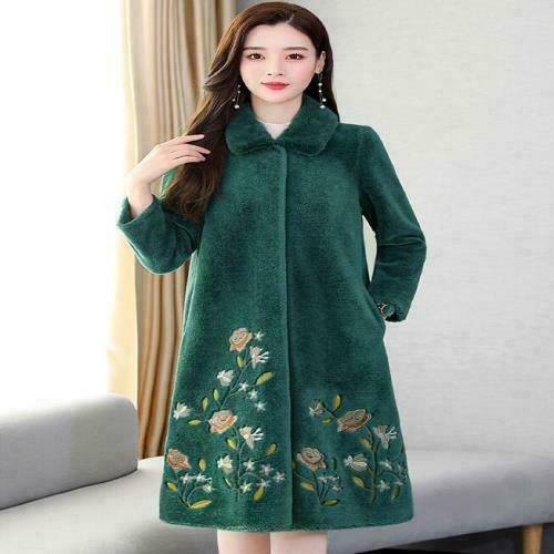 Women Fashion Winter Flowers Embroidery Wool Coats Casual Loose Outwear Parkas F
