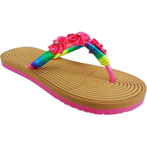 Bottes Femme Plates Toe Post String Tongs Été à Enfiler Sandales Chaussures Taille