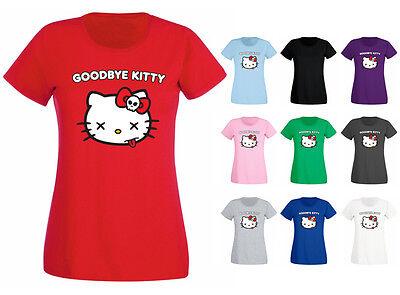 Womens Goodbye Kitty Hello Cat Funny Parody Vest Tank Top NEW UK 8-18