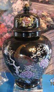 Japan  Black Lidded Porcelain Vase Floral Peacock Blossoms 1970's Hallmarked