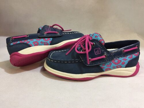 Sperry Top Sider kids Shoes Toddlers Size 10M Navy// Pink Leather Eur 27.5