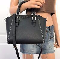 NWT Michael Kors Black Saffiano Leather Grommet MK Signature Crossbody Bag Purse