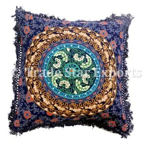 Image Is Loading Indian Mandala Cushion Cover Decorative Square Fringe Pillow