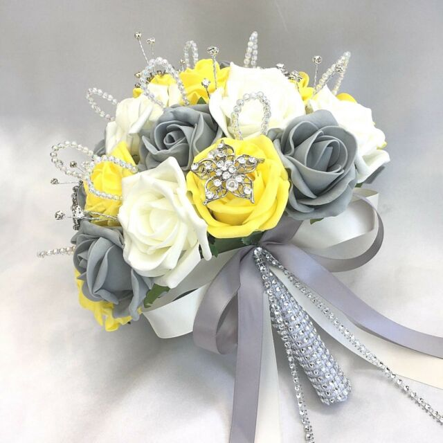 Wedding Flowers Yellow Roses: Brides Posy Bouquet Yellow Ivory & Grey Roses Artificial