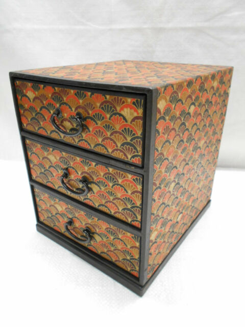 Vintage Decorative Paper Box Dresser Box Japanese Drawers Circa 1970s #532