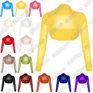 New-Womens-Plain-Sheer-Mesh-Chiffon-Open-Front-Bolero-Shrug-Cropped-Cardigan-Top