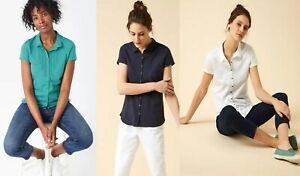 White-Stuff-Cotton-NAVY-WHITE-TEAL-Short-Sleeve-Blouse-Polo-Shirt-Top-8-10-14-12