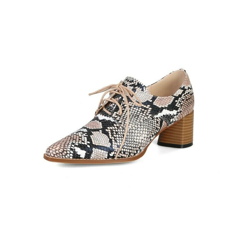 Donna Pointy Toe Lace Up High Block Heel Oxfords scarpe Snake Party Casual Fashion