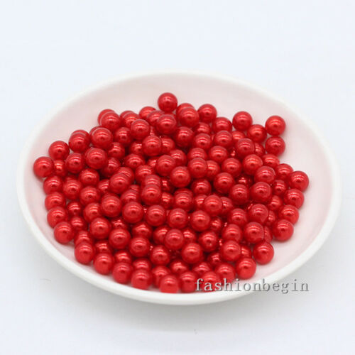 3//4//6//8mm assorted No Hole Round Pearl loose Acrylic beads crafts jewelry making
