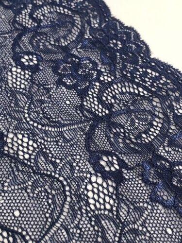 """Laverslace French Navy Blue Con Cable Floral amplia franja Ribete de Encaje 7/""""//18cm"""