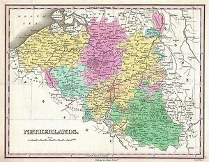 MAP-ANTIQUE-FINLEY-1827-BELGIUM-LUXEMBOURG-OLD-LARGE-REPRO-POSTER-PRINT-PAM0899