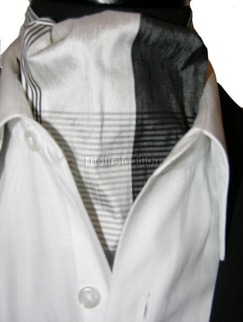 New Modern Day Silk Ascot Cravat Tie Black White Plaid Extra Long