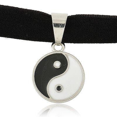Black Retro Gothic Velvet Ribbon Choker Charm Necklace Pendant 90's Boho Silver